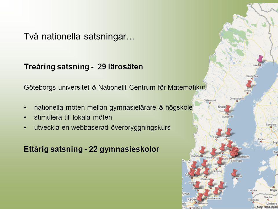 Två nationella satsningar… Treåring satsning - 29 lärosäten Göteborgs universitet & Nationellt Centrum för Matematikutbildning: nationella möten mella