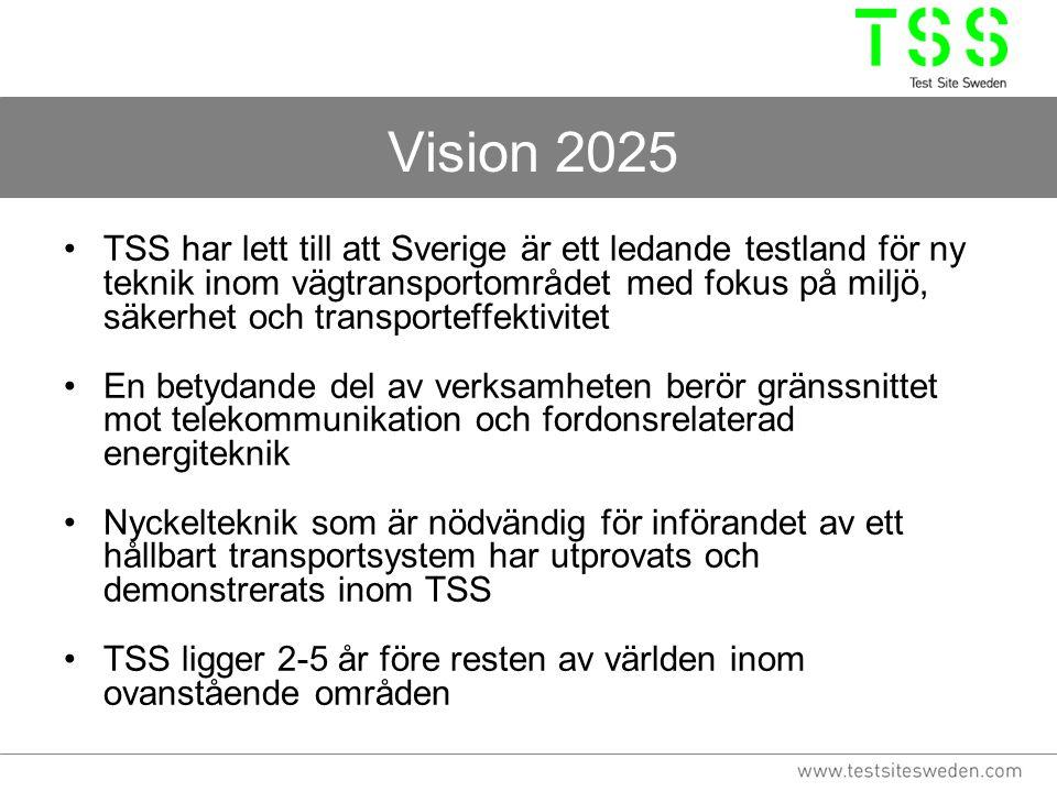 Vision 2025 TSS har lett till att Sverige är ett ledande testland för ny teknik inom vägtransportområdet med fokus på miljö, säkerhet och transporteffektivitet En betydande del av verksamheten berör gränssnittet mot telekommunikation och fordonsrelaterad energiteknik Nyckelteknik som är nödvändig för införandet av ett hållbart transportsystem har utprovats och demonstrerats inom TSS TSS ligger 2-5 år före resten av världen inom ovanstående områden
