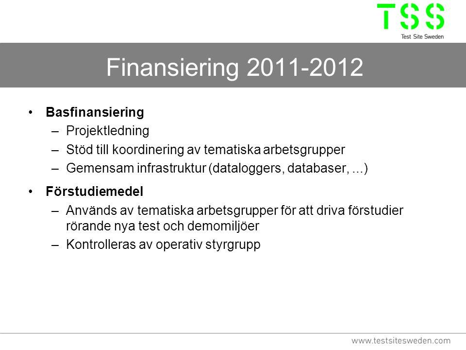 Finansiering 2011-2012 Basfinansiering –Projektledning –Stöd till koordinering av tematiska arbetsgrupper –Gemensam infrastruktur (dataloggers, databa