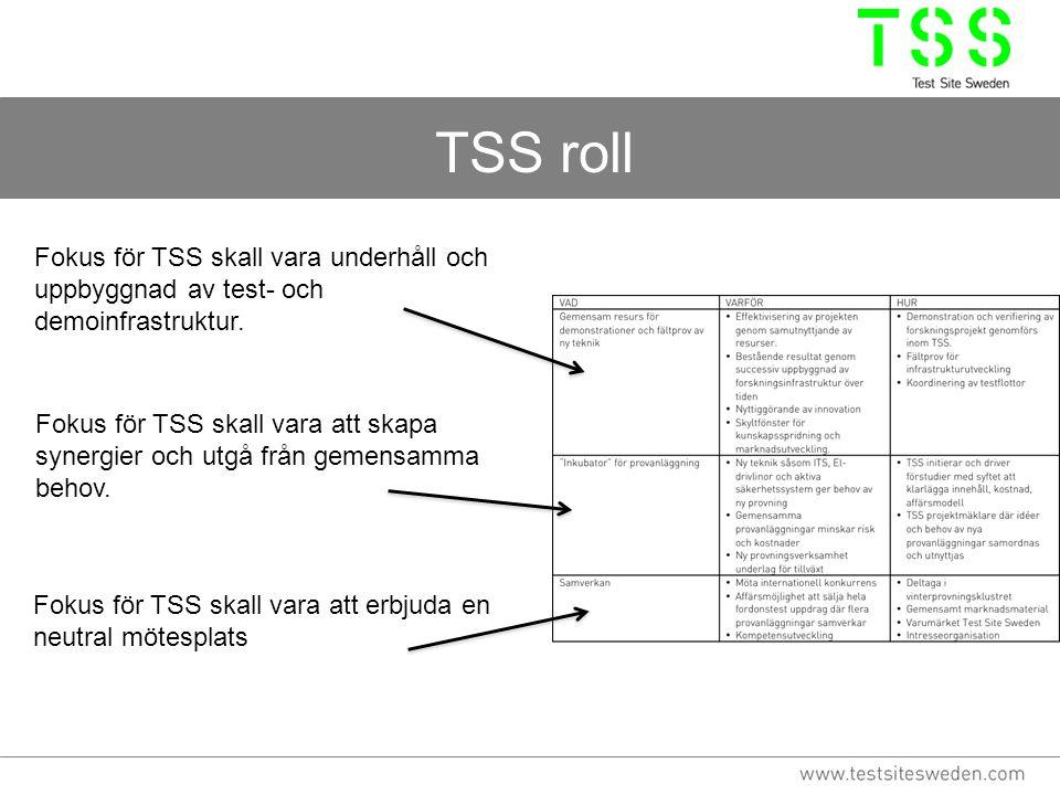 TSS roll Fokus för TSS skall vara underhåll och uppbyggnad av test- och demoinfrastruktur. Fokus för TSS skall vara att skapa synergier och utgå från