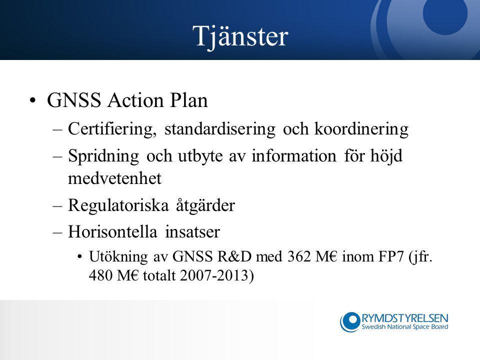 Tjänster GNSS Action Plan –Certifiering, standardisering och koordinering –Spridning och utbyte av information för höjd medvetenhet –Regulatoriska åtgärder –Horisontella insatser Utökning av GNSS R&D med 362 M€ inom FP7 (jfr.