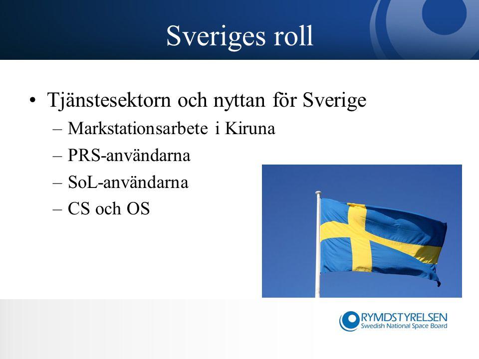 Sveriges roll Tjänstesektorn och nyttan för Sverige –Markstationsarbete i Kiruna –PRS-användarna –SoL-användarna –CS och OS