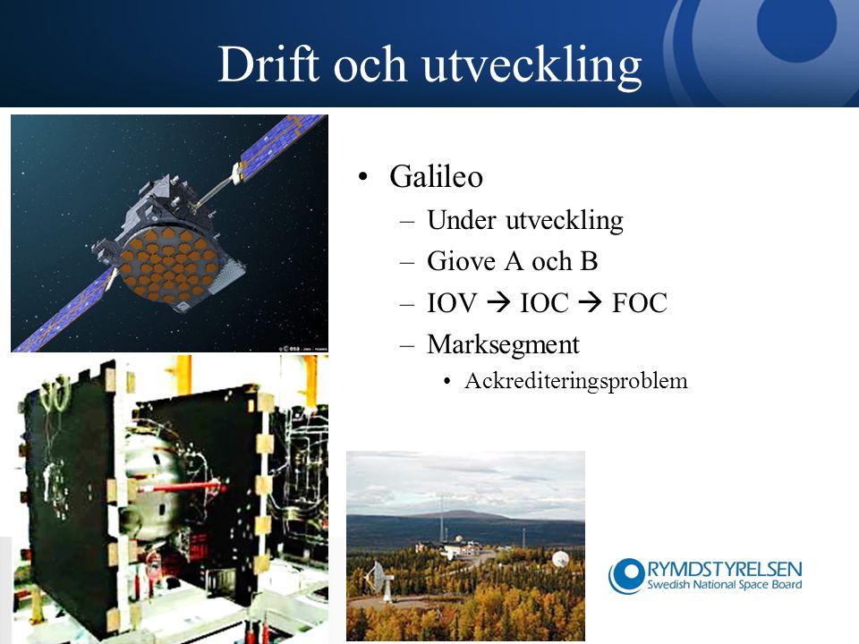 Drift och utveckling Galileo –Under utveckling –Giove A och B –IOV  IOC  FOC –Marksegment Ackrediteringsproblem