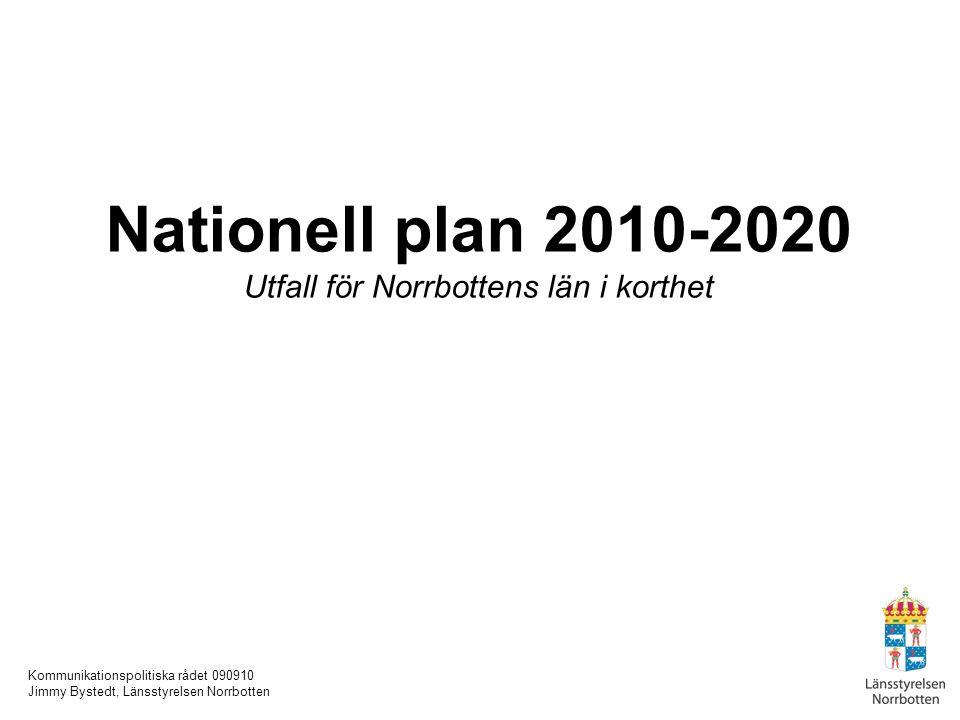 Kommunikationspolitiska rådet 090910 Jimmy Bystedt, Länsstyrelsen Norrbotten Nationell plan 2010-2020 Utfall för Norrbottens län i korthet