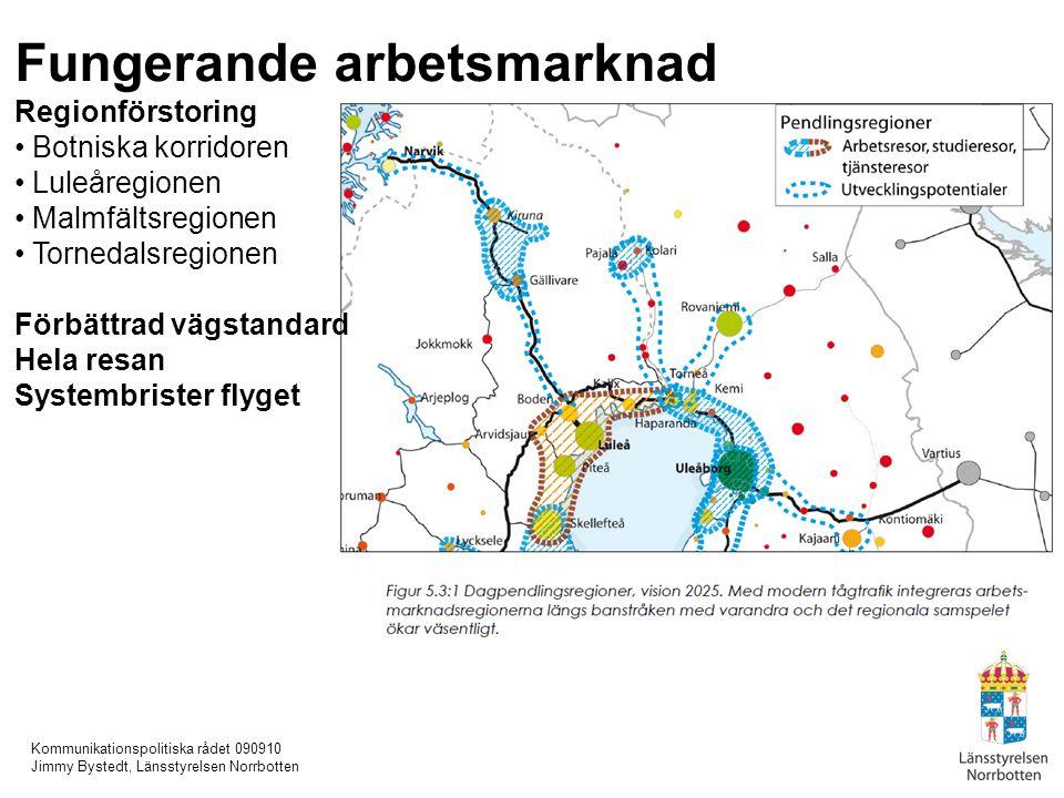 Kommunikationspolitiska rådet 090910 Jimmy Bystedt, Länsstyrelsen Norrbotten Fungerande arbetsmarknad Regionförstoring Botniska korridoren Luleåregion