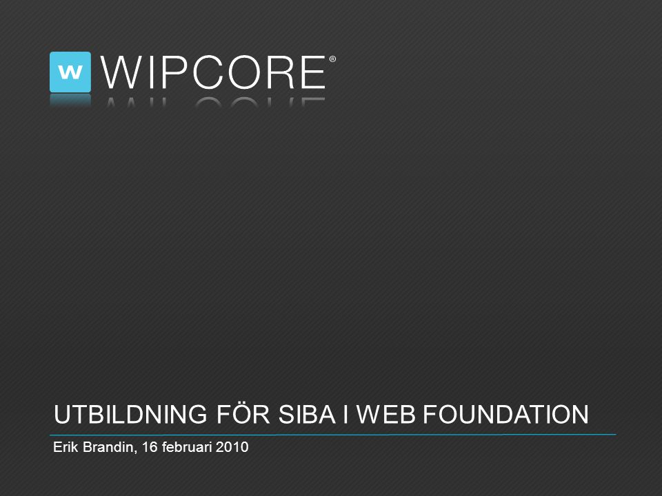 UTBILDNING FÖR SIBA I WEB FOUNDATION Erik Brandin, 16 februari 2010