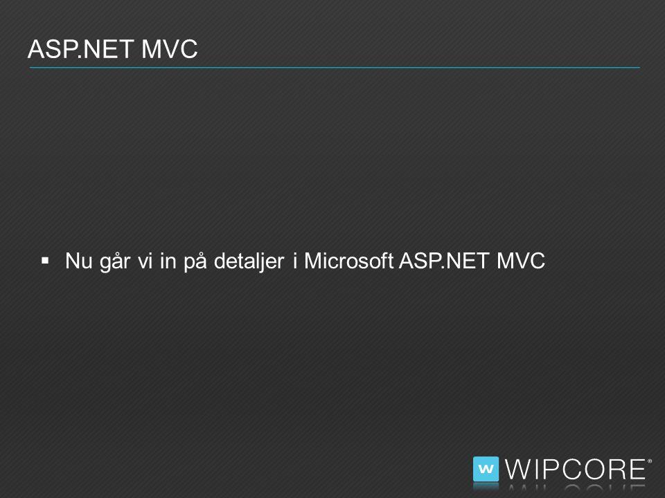  Nu går vi in på detaljer i Microsoft ASP.NET MVC ASP.NET MVC