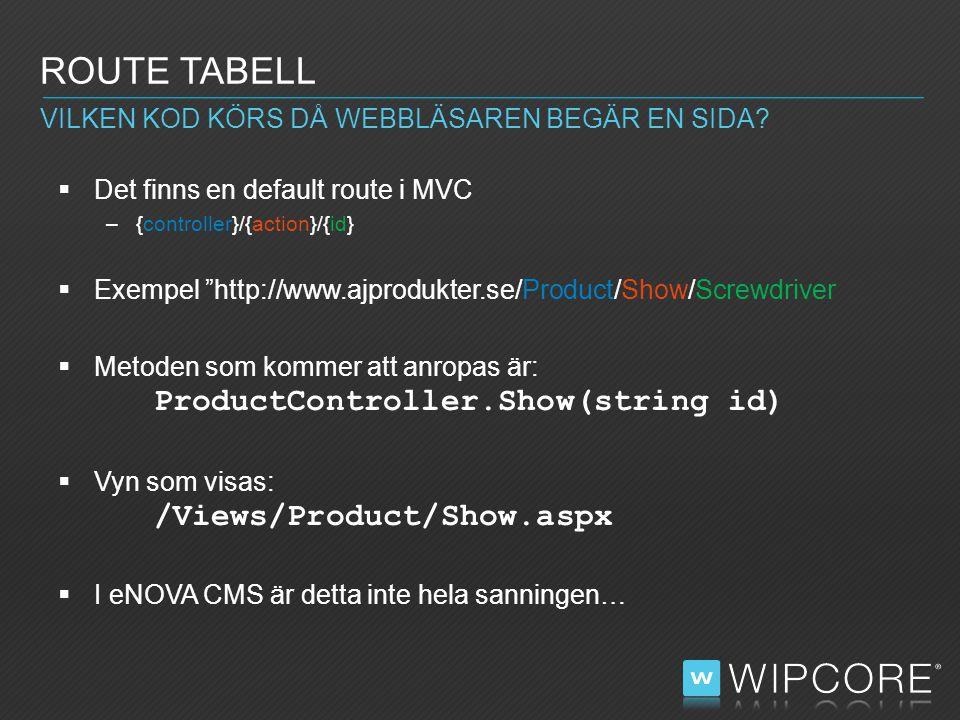  Det finns en default route i MVC –{controller}/{action}/{id}  Exempel http://www.ajprodukter.se/Product/Show/Screwdriver  Metoden som kommer att anropas är: ProductController.Show(string id)  Vyn som visas: /Views/Product/Show.aspx  I eNOVA CMS är detta inte hela sanningen… ROUTE TABELL VILKEN KOD KÖRS DÅ WEBBLÄSAREN BEGÄR EN SIDA