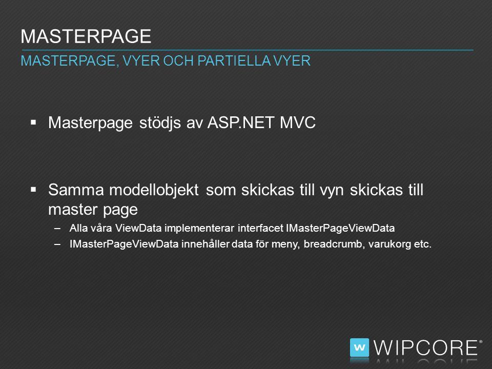  Masterpage stödjs av ASP.NET MVC  Samma modellobjekt som skickas till vyn skickas till master page –Alla våra ViewData implementerar interfacet IMasterPageViewData –IMasterPageViewData innehåller data för meny, breadcrumb, varukorg etc.