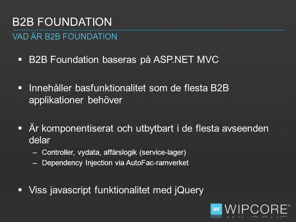 B2B Foundation baseras på ASP.NET MVC  Innehåller basfunktionalitet som de flesta B2B applikationer behöver  Är komponentiserat och utbytbart i de flesta avseenden delar –Controller, vydata, affärslogik (service-lager) –Dependency Injection via AutoFac-ramverket  Viss javascript funktionalitet med jQuery B2B FOUNDATION VAD ÄR B2B FOUNDATION