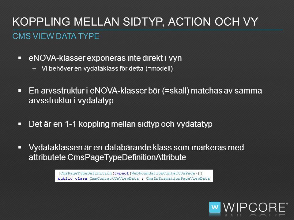  eNOVA-klasser exponeras inte direkt i vyn –Vi behöver en vydataklass för detta (=modell)  En arvsstruktur i eNOVA-klasser bör (=skall) matchas av samma arvsstruktur i vydatatyp  Det är en 1-1 koppling mellan sidtyp och vydatatyp  Vydataklassen är en databärande klass som markeras med attributete CmsPageTypeDefinitionAttribute KOPPLING MELLAN SIDTYP, ACTION OCH VY CMS VIEW DATA TYPE