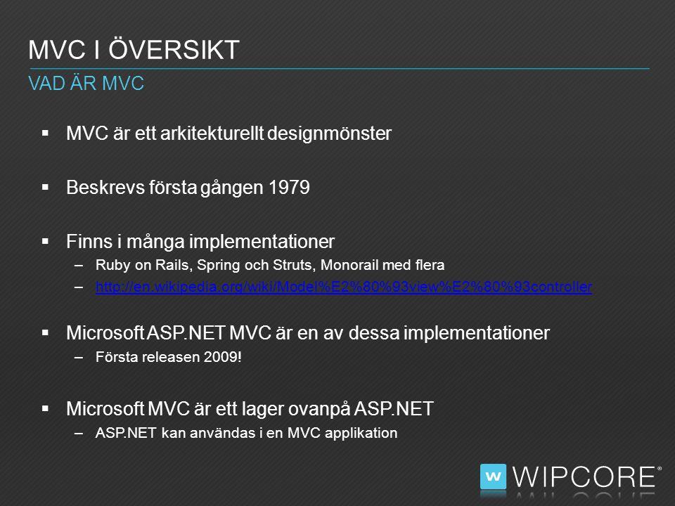  MVC är ett arkitekturellt designmönster  Beskrevs första gången 1979  Finns i många implementationer –Ruby on Rails, Spring och Struts, Monorail med flera –http://en.wikipedia.org/wiki/Model%E2%80%93view%E2%80%93controllerhttp://en.wikipedia.org/wiki/Model%E2%80%93view%E2%80%93controller  Microsoft ASP.NET MVC är en av dessa implementationer –Första releasen 2009.
