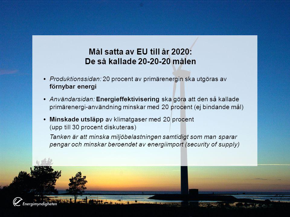 Mål satta av EU till år 2020: De så kallade 20-20-20 målen Produktionssidan: 20 procent av primärenergin ska utgöras av förnybar energi Användarsidan: Energieffektivisering ska göra att den så kallade primärenergi-användning minskar med 20 procent (ej bindande mål) Minskade utsläpp av klimatgaser med 20 procent (upp till 30 procent diskuteras) Tanken är att minska miljöbelastningen samtidigt som man sparar pengar och minskar beroendet av energiimport (security of supply)