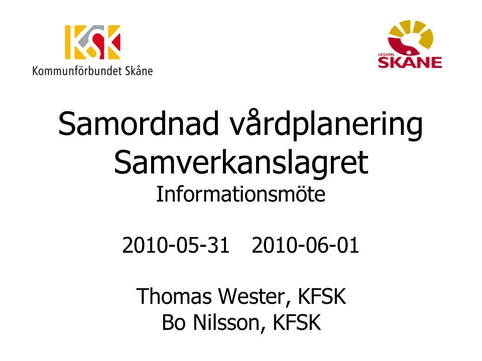 Samordnad vårdplanering Samverkanslagret Informationsmöte 2010-05-31 2010-06-01 Thomas Wester, KFSK Bo Nilsson, KFSK