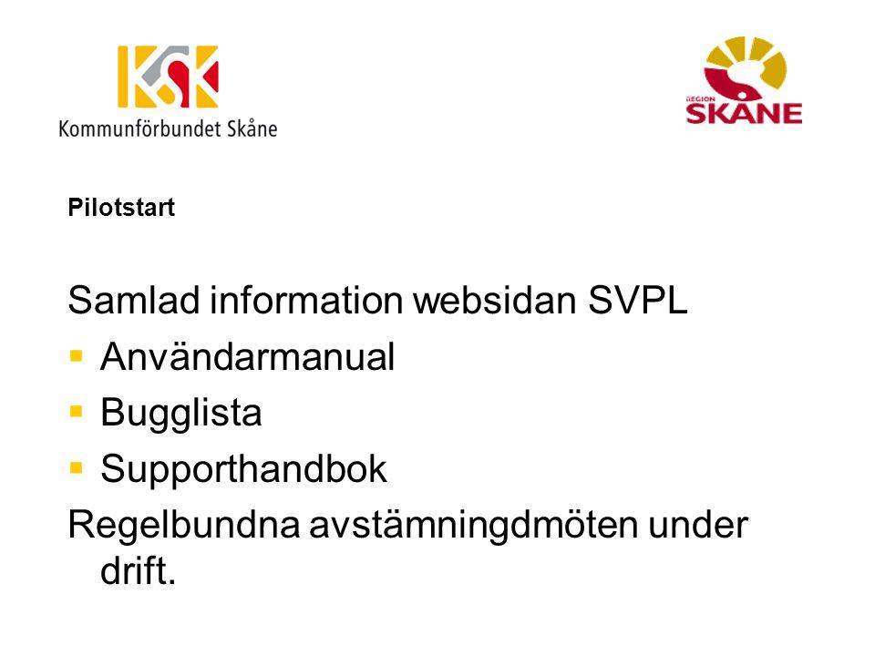 Pilotstart Samlad information websidan SVPL  Användarmanual  Bugglista  Supporthandbok Regelbundna avstämningdmöten under drift.