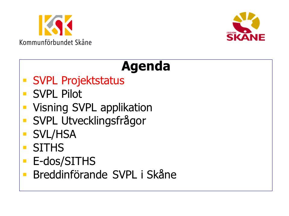 Pilot SVPL Omfattning  Pilotperiod 20100428 – 20100517  Pilotområde: Landskrona lasarett, 4 offentliga vårdcentraler, 1 privat vårdcentral, Landskrona stad, Svalöv kommun.