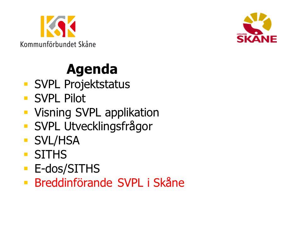 Agenda  SVPL Projektstatus  SVPL Pilot  Visning SVPL applikation  SVPL Utvecklingsfrågor  SVL/HSA  SITHS  E-dos/SITHS  Breddinförande SVPL i S