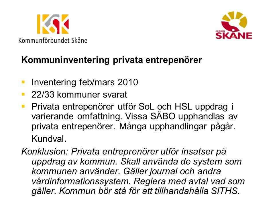 Kommuninventering privata entrepenörer  Inventering feb/mars 2010  22/33 kommuner svarat  Privata entrepenörer utför SoL och HSL uppdrag i varieran