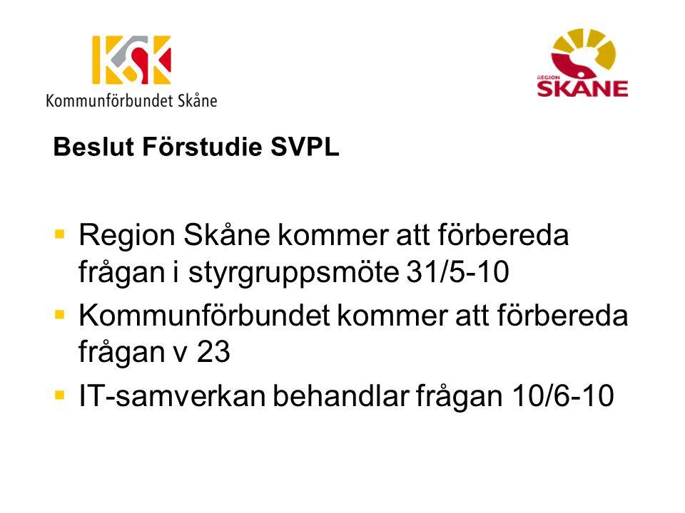 Beslut Förstudie SVPL  Region Skåne kommer att förbereda frågan i styrgruppsmöte 31/5-10  Kommunförbundet kommer att förbereda frågan v 23  IT-samv