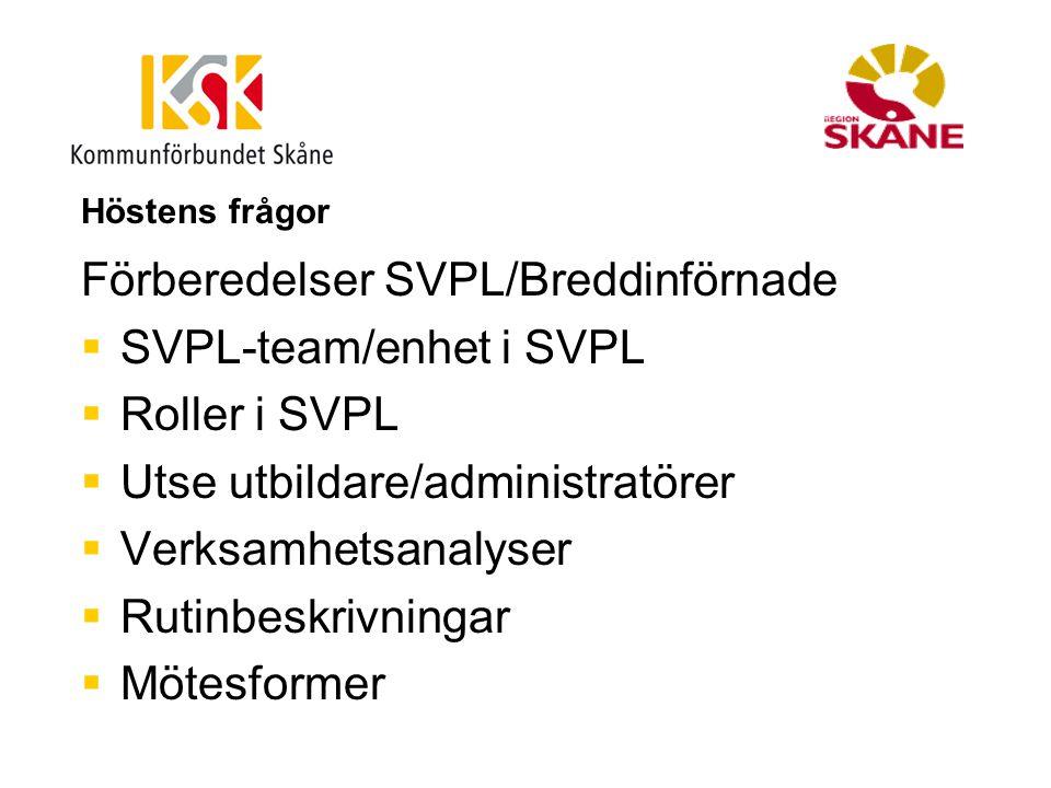 Höstens frågor Förberedelser SVPL/Breddinförnade  SVPL-team/enhet i SVPL  Roller i SVPL  Utse utbildare/administratörer  Verksamhetsanalyser  Rut