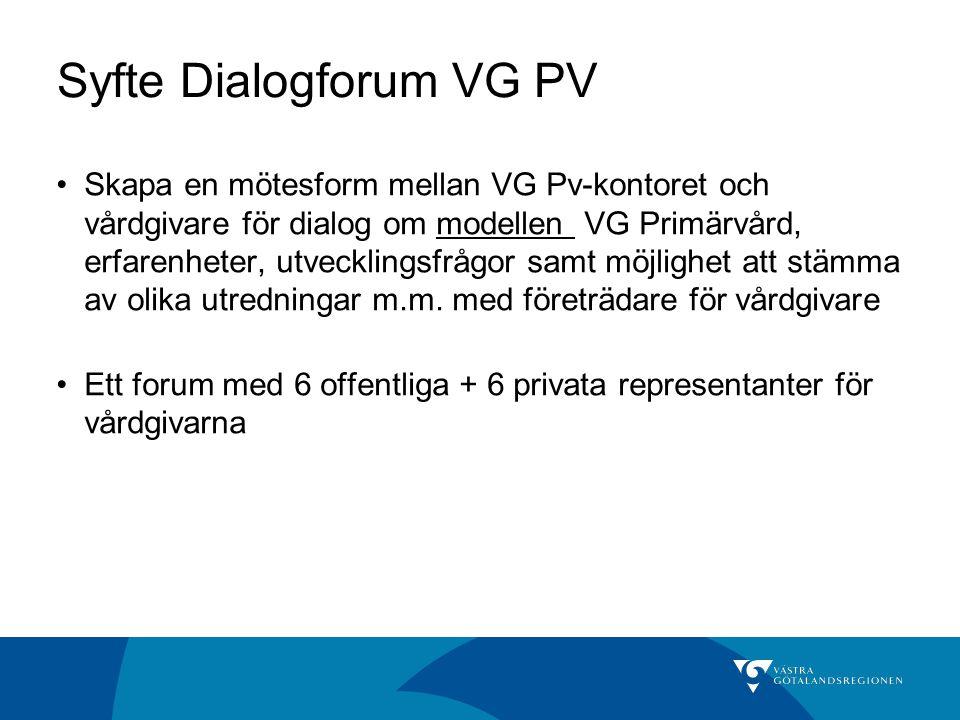 Syfte Dialogforum VG PV Skapa en mötesform mellan VG Pv-kontoret och vårdgivare för dialog om modellen VG Primärvård, erfarenheter, utvecklingsfrågor samt möjlighet att stämma av olika utredningar m.m.