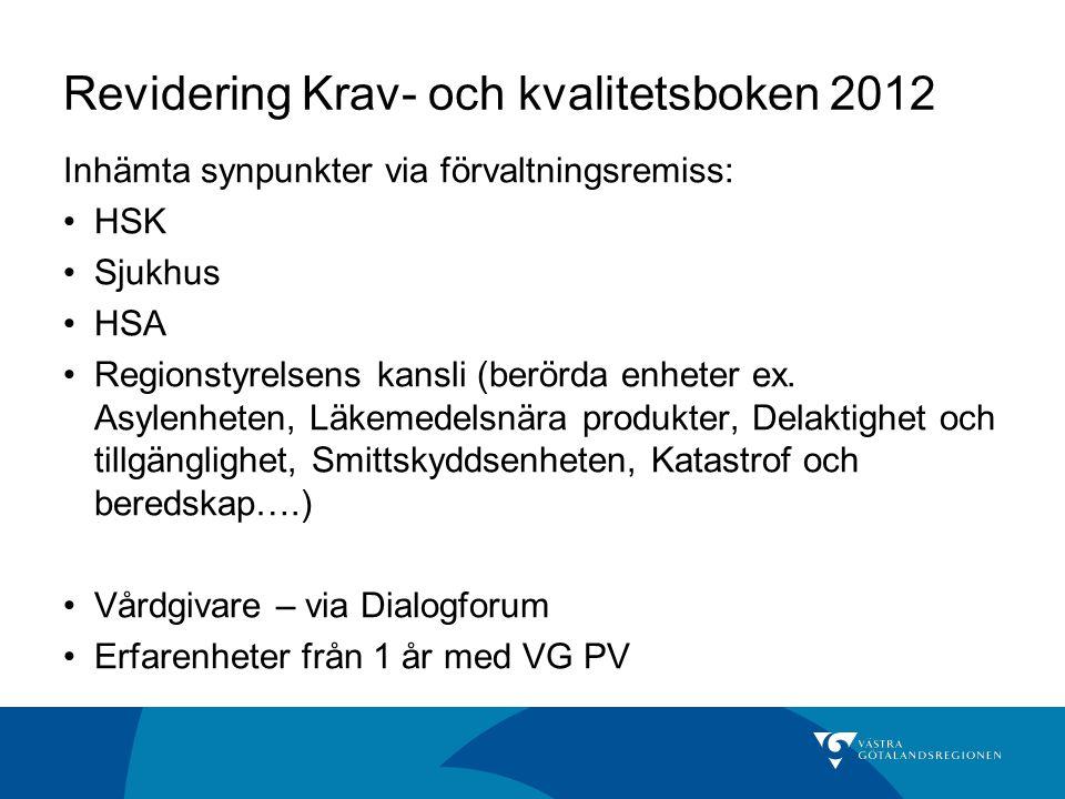 Revidering Krav- och kvalitetsboken 2012 Inhämta synpunkter via förvaltningsremiss: HSK Sjukhus HSA Regionstyrelsens kansli (berörda enheter ex.