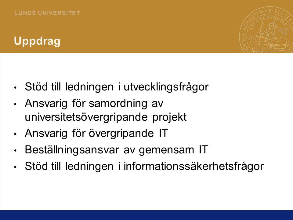 3 L U N D S U N I V E R S I T E T Vad är bäst för Lunds universitet? Dialog med studenter, lärare, forskare, IT- samordnare, IT-ansvariga, LDC mfl Hitta gemensamma modeller och arbetssätt för att ge bästa förutsättningar för utbildning och forskning Mötesgrupperingar, projekt och råd mm Karl Ageberg