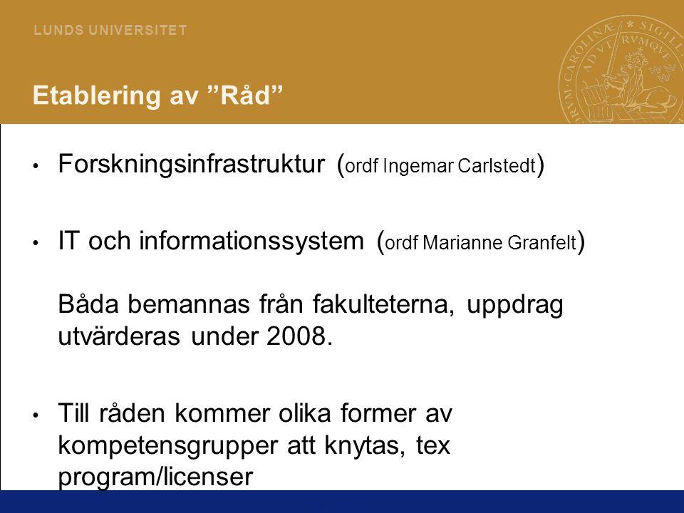 5 L U N D S U N I V E R S I T E T Etablering av Råd Forskningsinfrastruktur ( ordf Ingemar Carlstedt ) IT och informationssystem ( ordf Marianne Granfelt ) Båda bemannas från fakulteterna, uppdrag utvärderas under 2008.