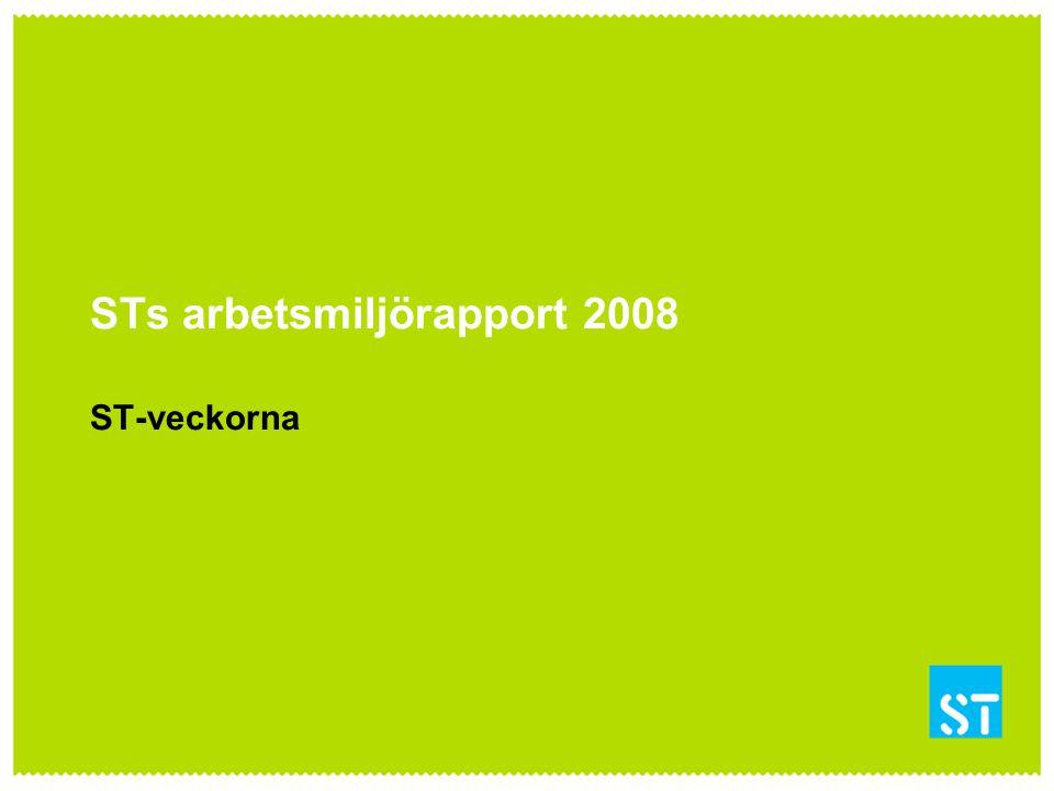 STs arbetsmiljörapport 2008 ST-veckorna