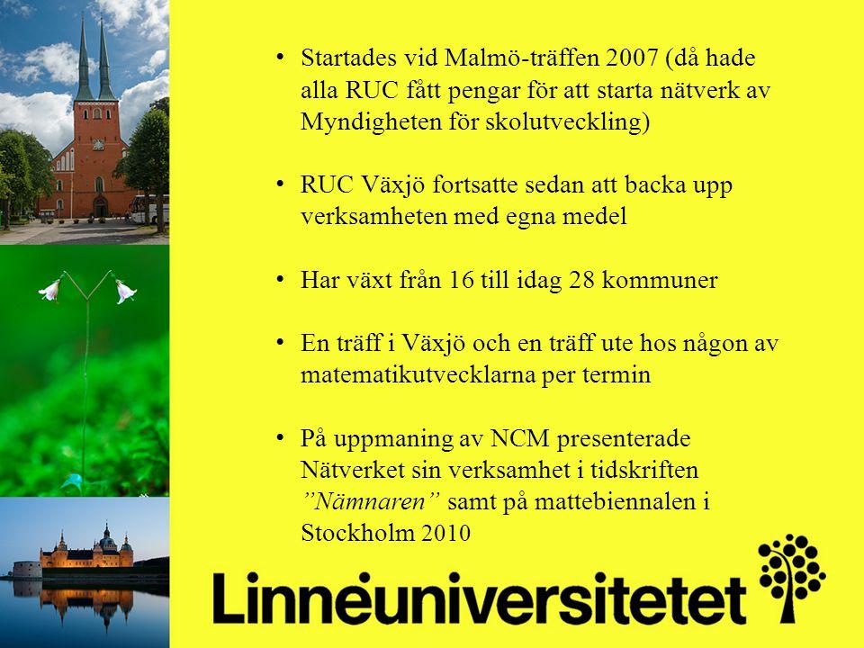 Matematikutveckling i Olofströms kommun 2003-2012 Mikael Gustafsson & Camilla Stridh Startades vid Malmö-träffen 2007 (då hade alla RUC fått pengar fö