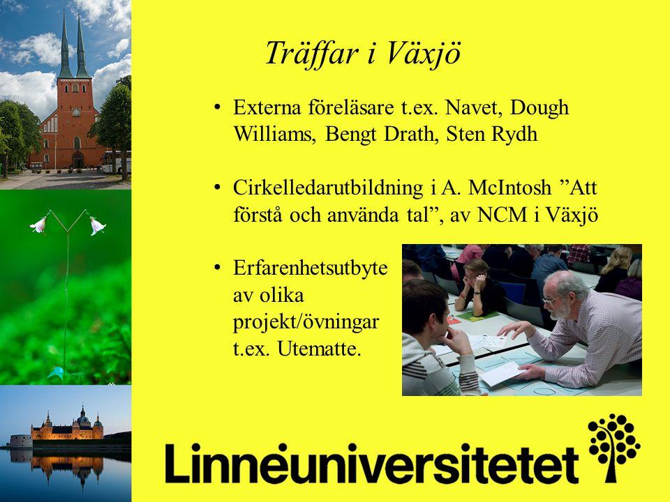 Matematikutveckling i Olofströms kommun 2003-2012 Mikael Gustafsson & Camilla Stridh Träffar i Växjö Externa föreläsare t.ex. Navet, Dough Williams, B