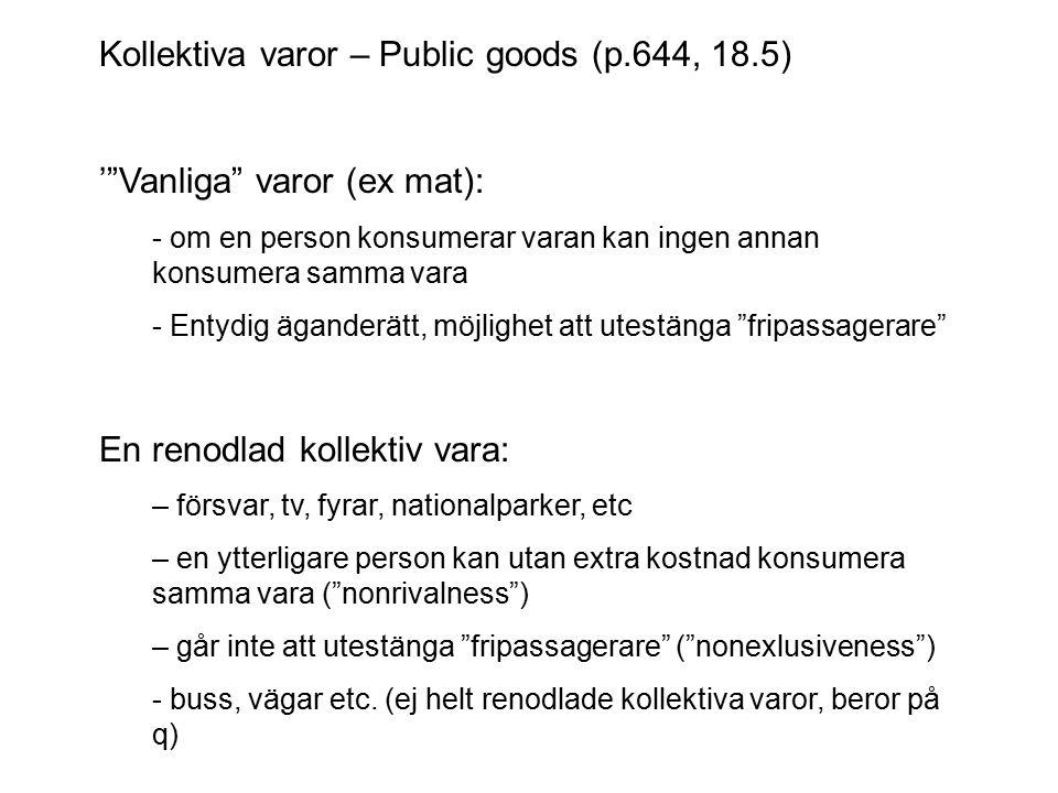 """Kollektiva varor – Public goods (p.644, 18.5) '""""Vanliga"""" varor (ex mat): - om en person konsumerar varan kan ingen annan konsumera samma vara - Entydi"""