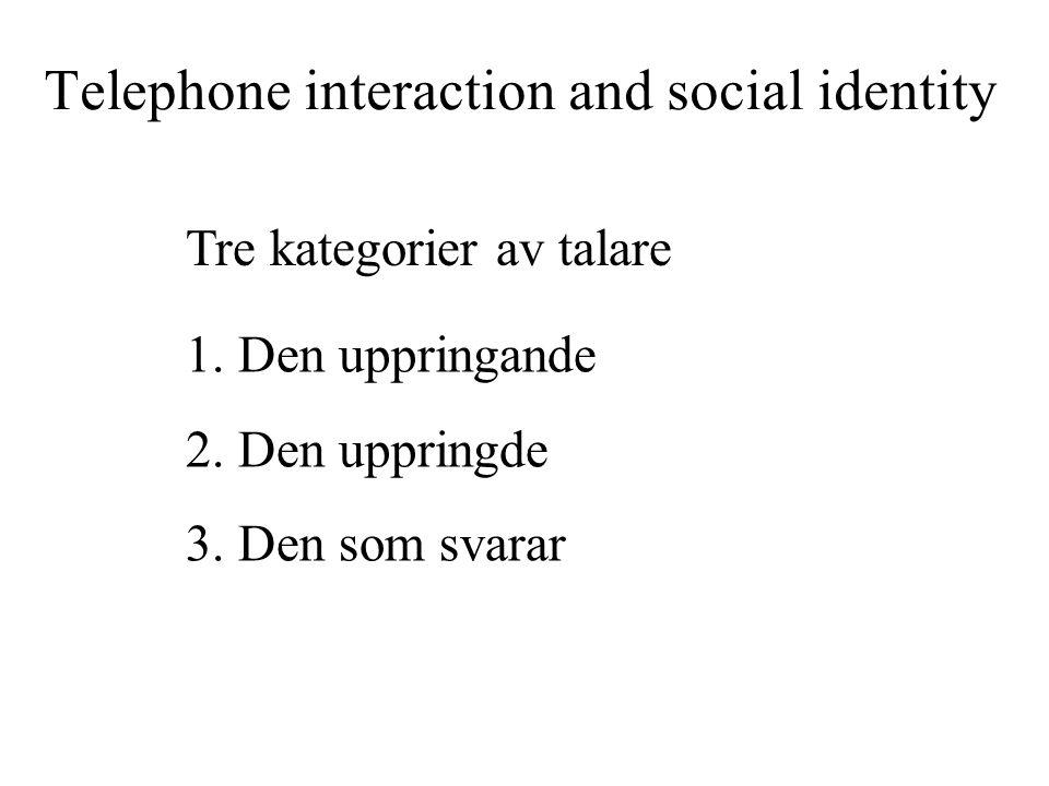 Telephone interaction and social identity 1.Den uppringande 2.Den uppringde 3.Den som svarar Tre kategorier av talare