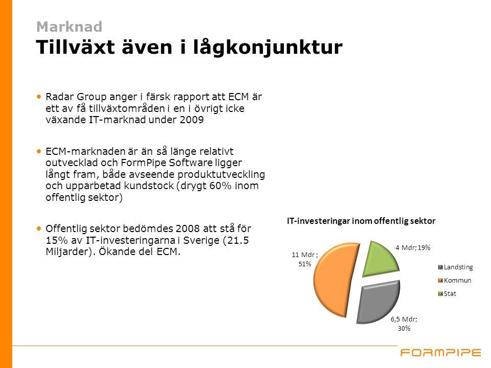 Marknad Tillväxt även i lågkonjunktur Radar Group anger i färsk rapport att ECM är ett av få tillväxtområden i en i övrigt icke växande IT-marknad under 2009 ECM-marknaden är än så länge relativt outvecklad och FormPipe Software ligger långt fram, både avseende produktutveckling och upparbetad kundstock (drygt 60% inom offentlig sektor) Offentlig sektor bedömdes 2008 att stå för 15% av IT-investeringarna i Sverige (21.5 Miljarder).