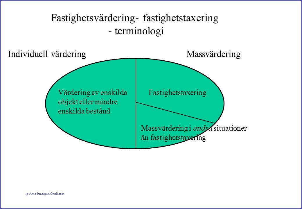 c Arne Sundquist/Orsalheden Fastighetsvärdering- fastighetstaxering - terminologi Värdering av enskilda objekt eller mindre enskilda bestånd Fastighetstaxering Massvärdering i andra situationer än fastighetstaxering MassvärderingIndividuell värdering