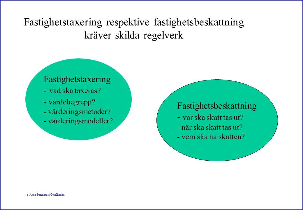 c Arne Sundquist/Orsalheden Fastighetstaxering respektive fastighetsbeskattning kräver skilda regelverk Fastighetstaxering - vad ska taxeras.