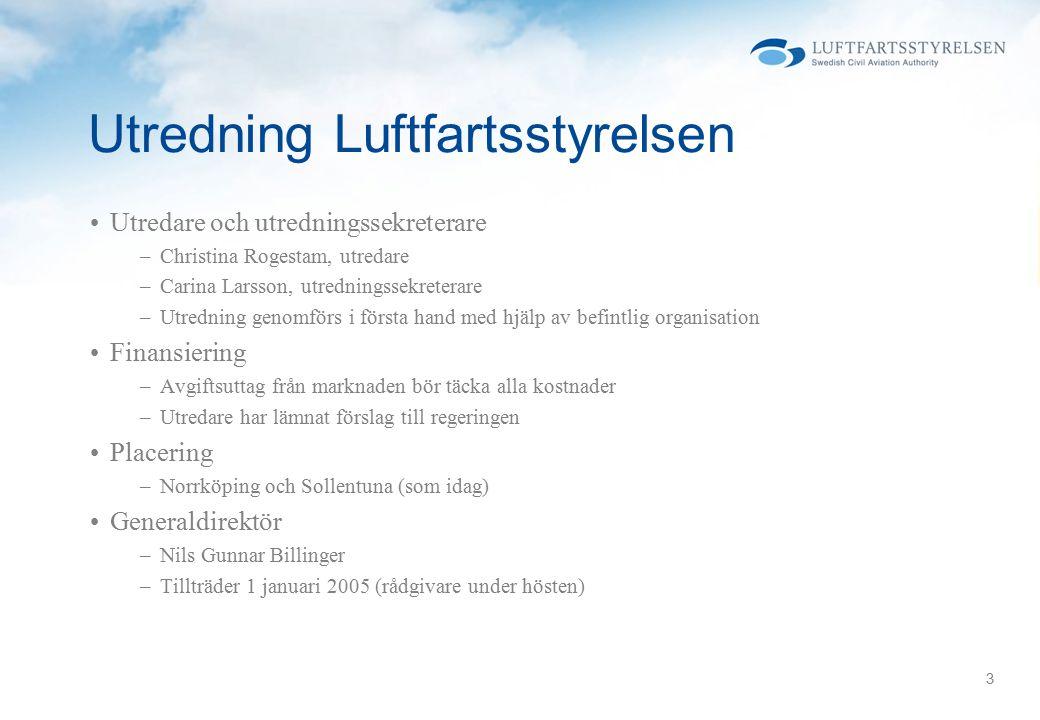 3 Utredning Luftfartsstyrelsen Utredare och utredningssekreterare –Christina Rogestam, utredare –Carina Larsson, utredningssekreterare –Utredning geno