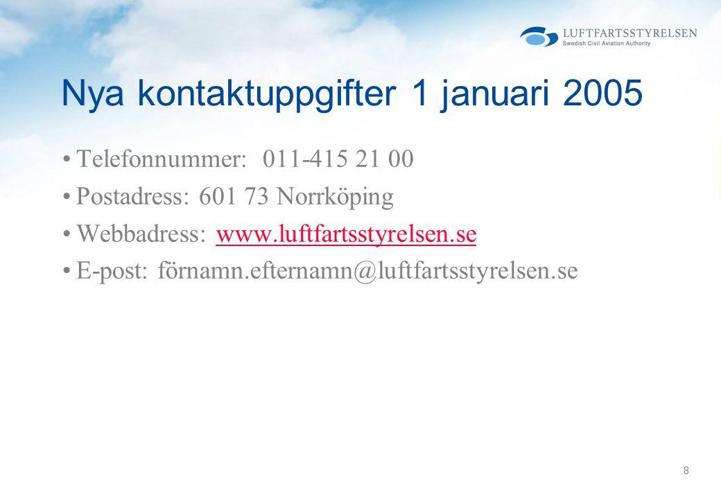 8 Nya kontaktuppgifter 1 januari 2005 Telefonnummer: 011-415 21 00 Postadress: 601 73 Norrköping Webbadress: www.luftfartsstyrelsen.sewww.luftfartsstyrelsen.se E-post: förnamn.efternamn@luftfartsstyrelsen.se