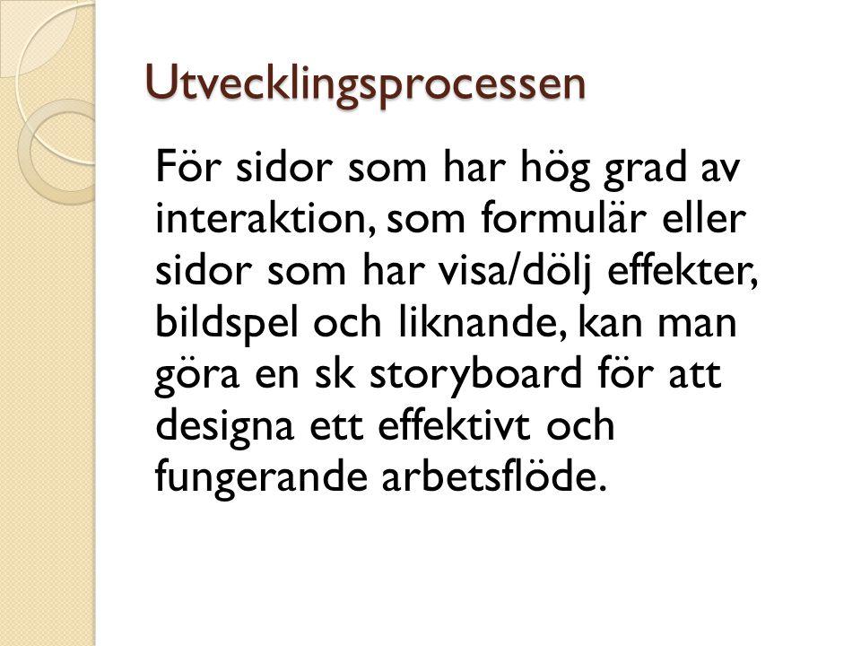 Utvecklingsprocessen För sidor som har hög grad av interaktion, som formulär eller sidor som har visa/dölj effekter, bildspel och liknande, kan man gö