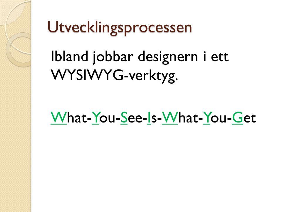Utvecklingsprocessen Ibland jobbar designern i ett WYSIWYG-verktyg. What-You-See-Is-What-You-Get