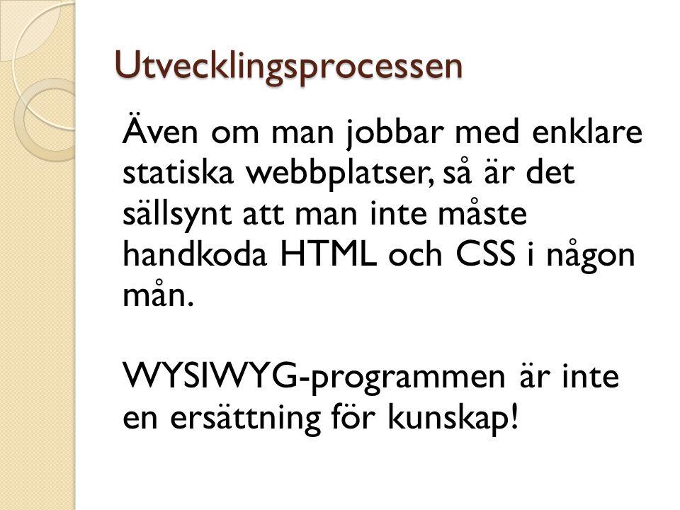 Utvecklingsprocessen Även om man jobbar med enklare statiska webbplatser, så är det sällsynt att man inte måste handkoda HTML och CSS i någon mån. WYS