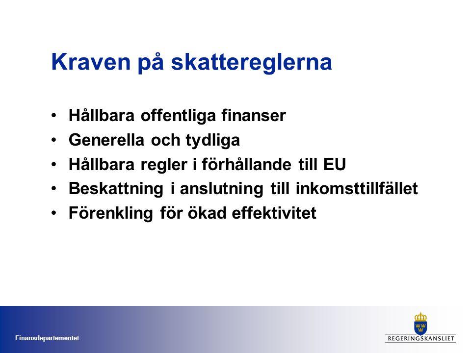Finansdepartementet Kraven på skattereglerna Hållbara offentliga finanser Generella och tydliga Hållbara regler i förhållande till EU Beskattning i anslutning till inkomsttillfället Förenkling för ökad effektivitet