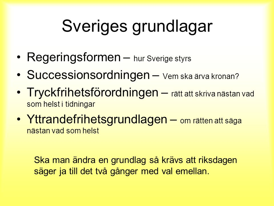 Sveriges grundlagar Regeringsformen – hur Sverige styrs Successionsordningen – Vem ska ärva kronan.