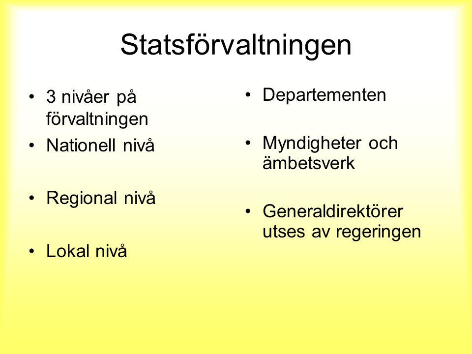Statsförvaltningen 3 nivåer på förvaltningen Nationell nivå Regional nivå Lokal nivå Departementen Myndigheter och ämbetsverk Generaldirektörer utses av regeringen