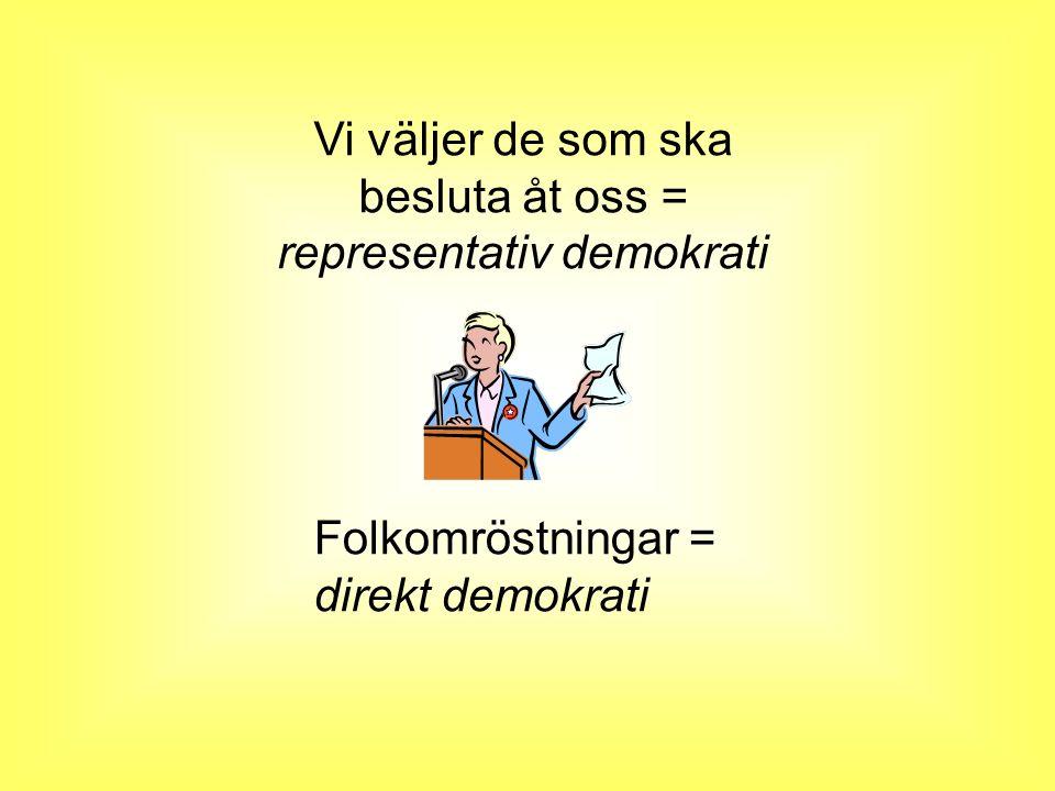 Vi väljer de som ska besluta åt oss = representativ demokrati Folkomröstningar = direkt demokrati