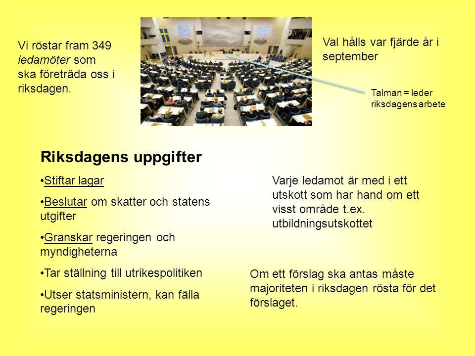 Val hålls var fjärde år i september Vi röstar fram 349 ledamöter som ska företräda oss i riksdagen.