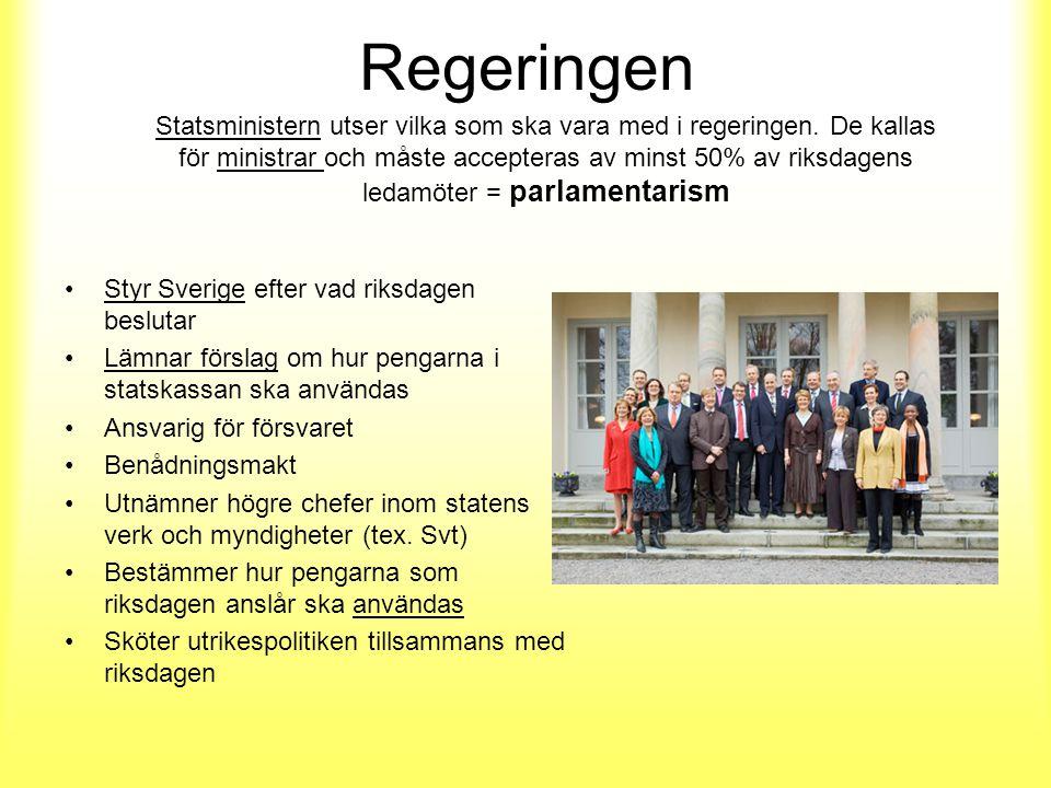 Regeringen Styr Sverige efter vad riksdagen beslutar Lämnar förslag om hur pengarna i statskassan ska användas Ansvarig för försvaret Benådningsmakt Utnämner högre chefer inom statens verk och myndigheter (tex.