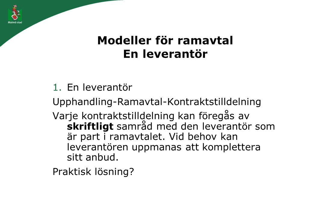 Modeller för ramavtal En leverantör 1.En leverantör Upphandling-Ramavtal-Kontraktstilldelning Varje kontraktstilldelning kan föregås av skriftligt sam