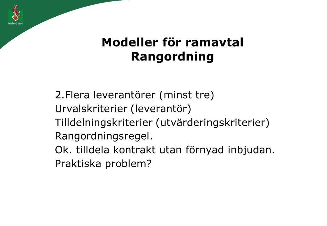 Modeller för ramavtal Rangordning 2.Flera leverantörer (minst tre) Urvalskriterier (leverantör) Tilldelningskriterier (utvärderingskriterier) Rangordn