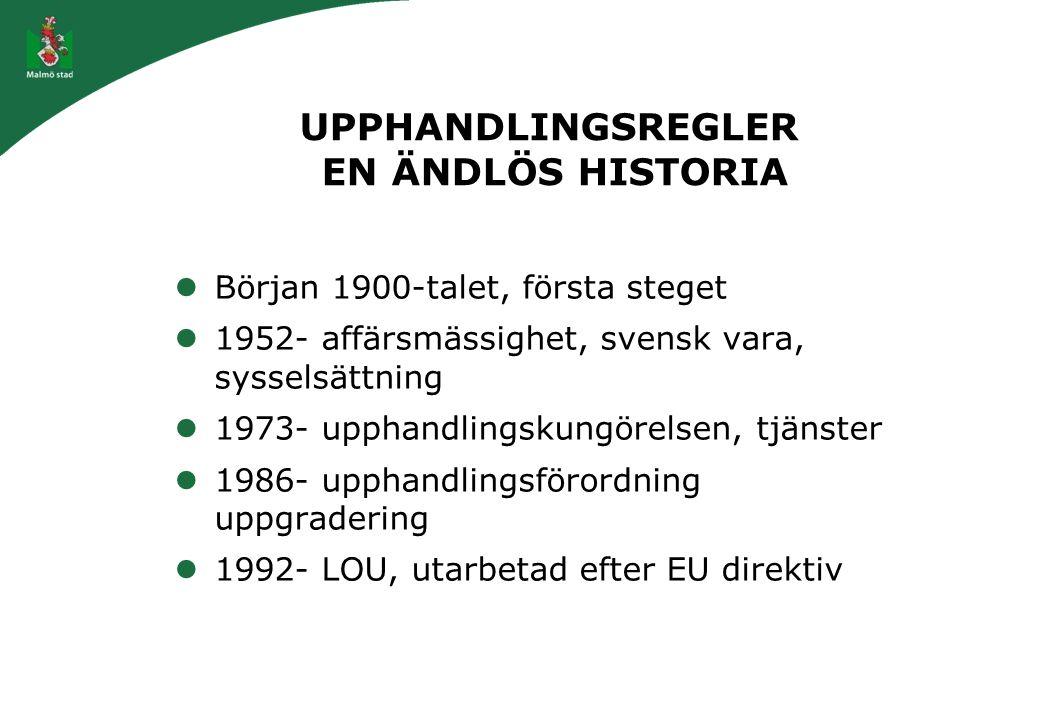 UPPHANDLINGSREGLER EN ÄNDLÖS HISTORIA Början 1900-talet, första steget 1952- affärsmässighet, svensk vara, sysselsättning 1973- upphandlingskungörelse